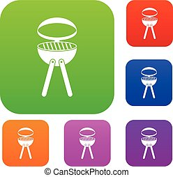 Barbecue grill set color collection