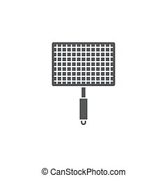 Barbecue, grill steel grid vector icon symbol tool isolated on white background