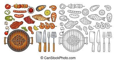 Barbecue grill top view charcoal, kebab, mushroom, tomato, fish, steak