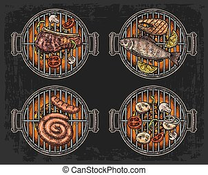 Barbecue grill top view with charcoal, mushroom, tomato, pepper, sausage, lemon, fish and beef steak. Food restaurant menu template