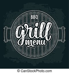 Barbecue grill with charcoal. BBQ grill menu handwriting lettering.