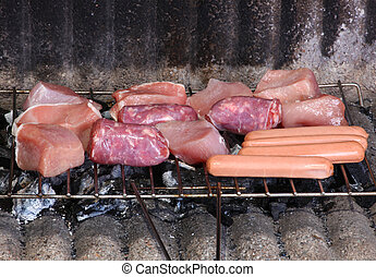 Barbecue grill with chicken and meat