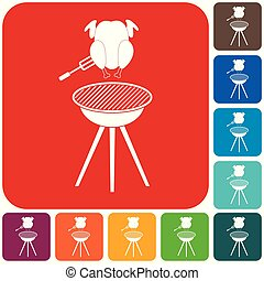Barbecue grill with chicken icon. Vector illustration