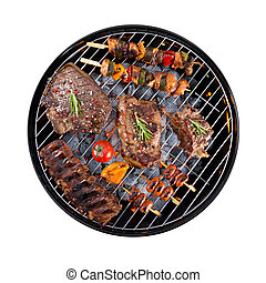 Barbecue grill with meat on white background - Barbecue ...