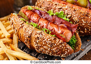 Barbecue grilled hot dog