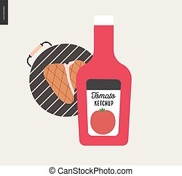 Barbecue grilled meat and ketchup