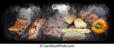 barbecue, groentes, vlees