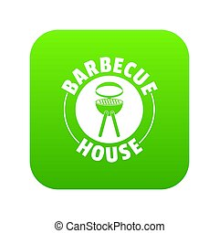Barbecue house icon green