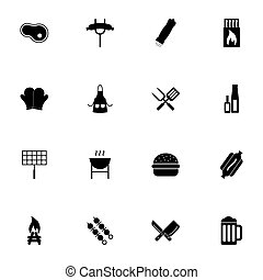 Barbecue icon - Expand to any size - Change to any colour. Perfect Flat Vector Contains such Icons as beer, bonfire, hot dog, grilled sausage, matches, apron, shashlik, kebab, burger, salt, pepper.