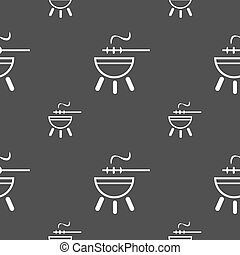 barbecue icon sign. Seamless pattern on a gray background. Vector