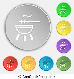 barbecue icon sign. Symbol on eight flat buttons. Vector