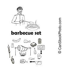 Barbecue icon vector set
