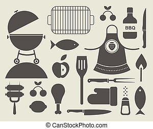 barbecue icons - Vector set of various food barbecue icons