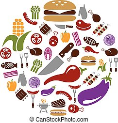 barbecue icons in circle