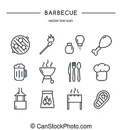 Barbecue icons line set.