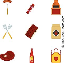 Barbecue icons set, flat style