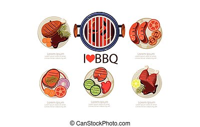 Barbecue icons set, grilled food menu flat vector Illustration on a white background