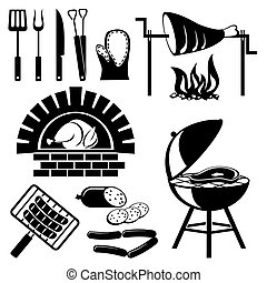 set of vector silhouette icons of barbecue and cooking meat
