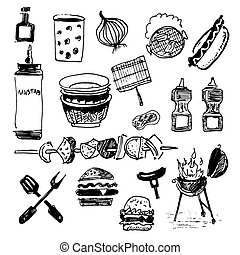 Barbecue icons set. Vector illustration isolated on white