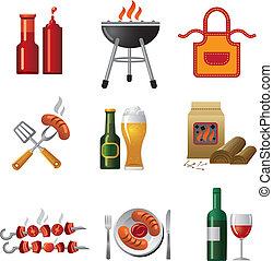 barbecue, ikon, sæt