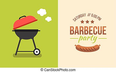 barbecue illustration concept - Bbq or barbecue party...