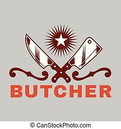 barbecue, image, vecteur, charcutier