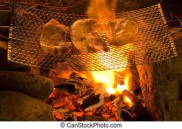 barbecue, in, uno, semplice, modo, in, selvatico, raccogliere, pietre, come, griglia