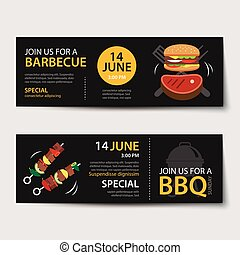 barbecue invitation party template flat design set