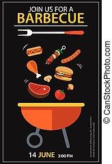 barbecue invitation party template flat design set