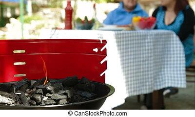 barbecue, jardin, gril