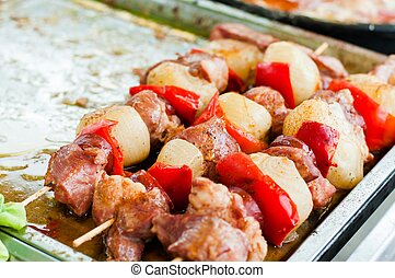 barbecue, kebab shish