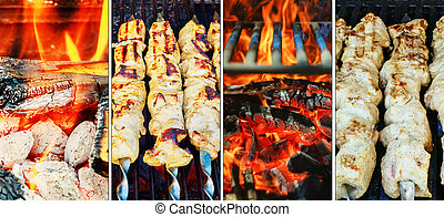 Barbecue Kebabs On The Hot Grill Close-up. Flames of Fire In photo collage