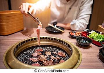 barbecue, koreansk, äta, buffé, restaurang