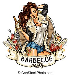 barbecue label with pretty woman - Barbecue label with...