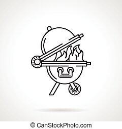 barbecue, ligne, vecteur, noir, icône