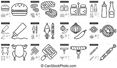 Barbecue line icon set. - Barbecue vector line icon set ...