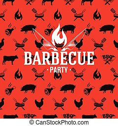Barbecue logo on red seamless pattern, vector illustration