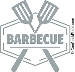 Barbecue logo, simple gray style
