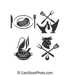 Barbecue logo template vector badge Design set