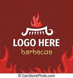Barbecue logo template with logogram fire on grill.