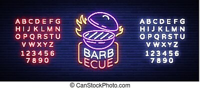 Barbecue logo vector. Neon sign, symbol, bright advertising night barbecue, grill, roast meat, grill bar, restaurant. Bright neon banner, luminous billboard for your projects. Editing text neon sign