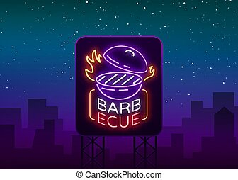 Barbecue logo vector. Neon sign, symbol, bright advertising night barbecue, grill, roast meat, grill bar, restaurant. Bright neon banner, luminous billboard for your projects