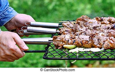 barbecue, mani, carne, uomo