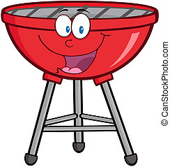 barbecue, mascotte, spotprent, rood, charact