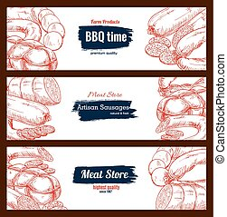 Barbecue meat sausages vector sketch banners set