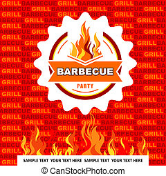 Barbecue menu on orange background.