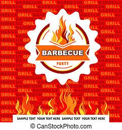 Barbecue menu on orange background.