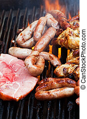 mixed barbecue stake and chicken, open flame