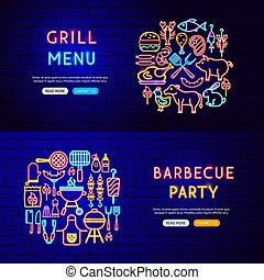 Barbecue Neon Banners