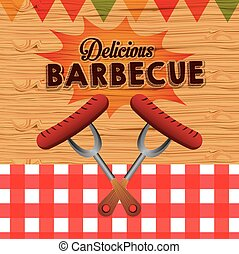 barbecue, ontwerp, heerlijk